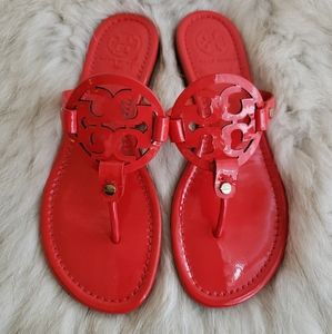 Tory Burch Red Patent Leather Miller Sandal 7.5M